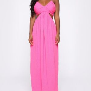 NEW Fashion Nova Hot Pink Maxi Dress - Size S